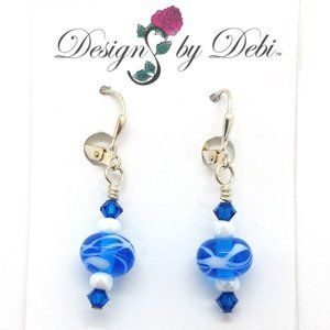 OOAK Blue & White Glass & Crystal Earrings